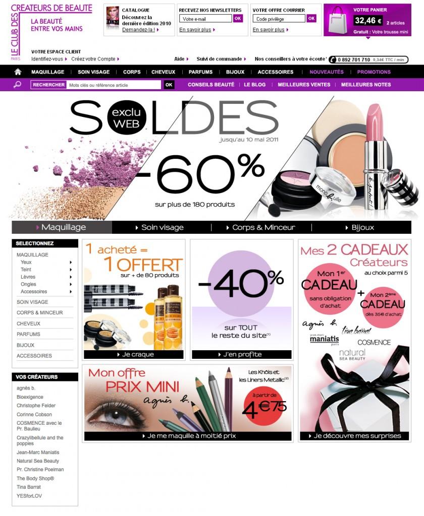Création graphique de l'opération marketing des soldes pour le site de vente par correspondance de produits de beauté.