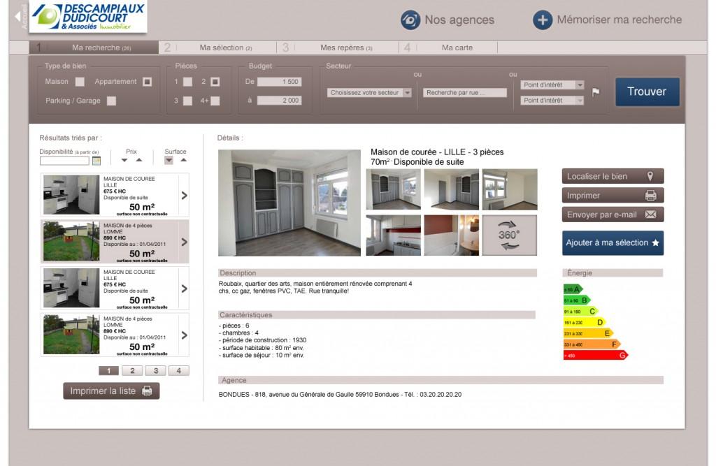 Conception et réalisation graphique d'un site interne pour l'agence immobilière Descampiaux Dudicourt. Site a l'allure d'un logiciel, qui permet aux clients, aidé par les agents, de trouver un bien correspondant à leurs critères.