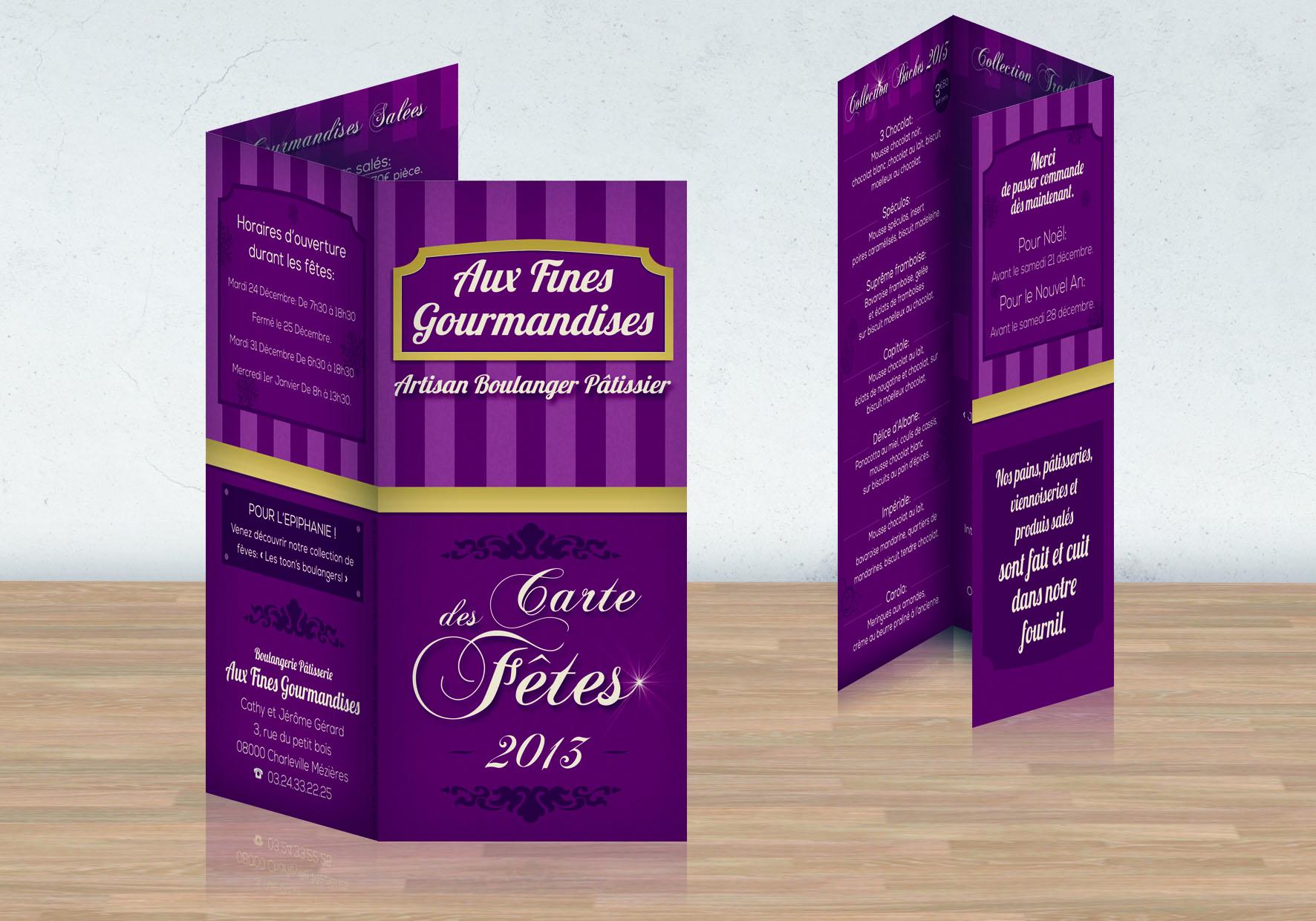 Menu Fines Carte Des Fetes 2013 Pour La Boulangerie Patisserie