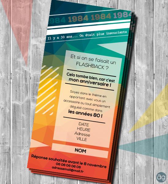 Carton d'invitation pour un anniversaire sur le thème des années 80.