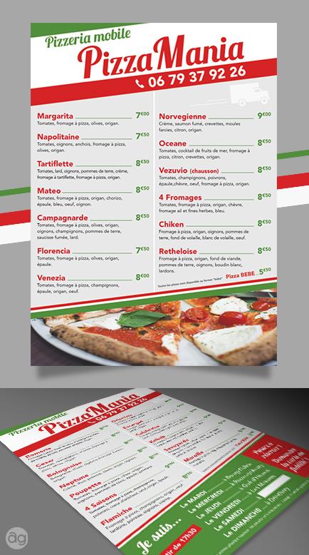 Flyer - Menu pour une pizzeria mobile