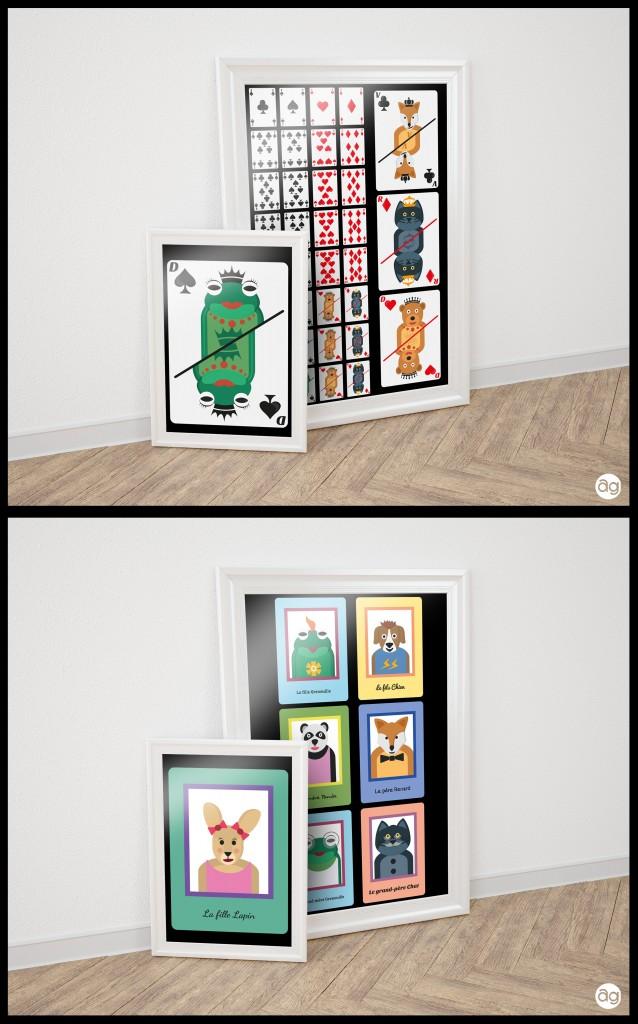 Illustrations de jeux de cartes pour enfants commandées par une association de parents d'élèves.