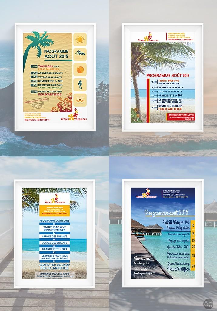 Affiches présentant le programme d'août 2015 de l'association belge Vraies Vacances, qui permet d'emmener les enfants en vacances.