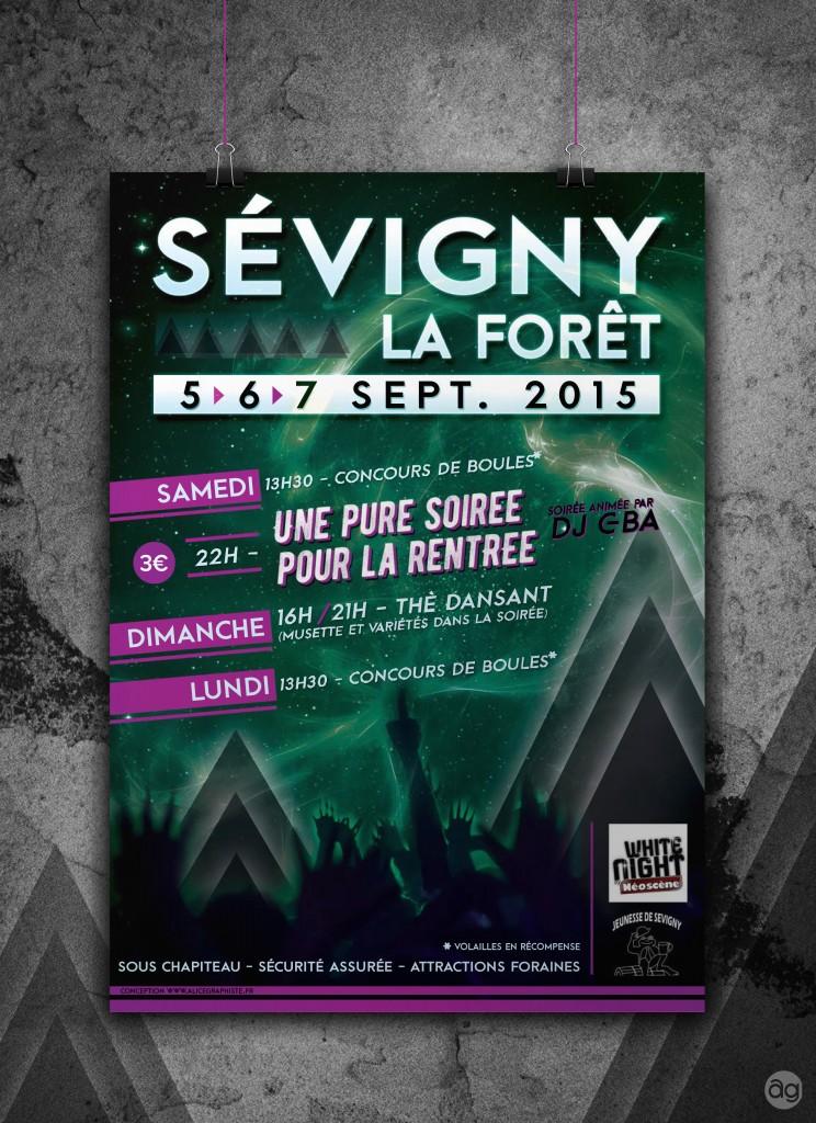 Affiche pour la fête patronale de Sévigny-la-forêt (Ardennes 08) : Soirée animée par un DJ, Concours de boules, attractions foraines...