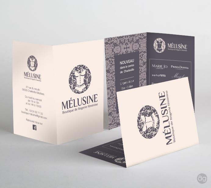 Double carte commerciale pour la boutique de lingerie Mélusine à Charleville-mézières