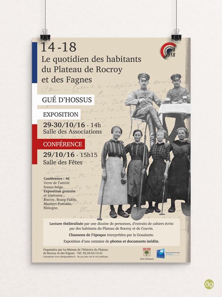 """Affiche : exposition et conférence """"Le plateau de Rocroy durant la guerre 14-18"""""""