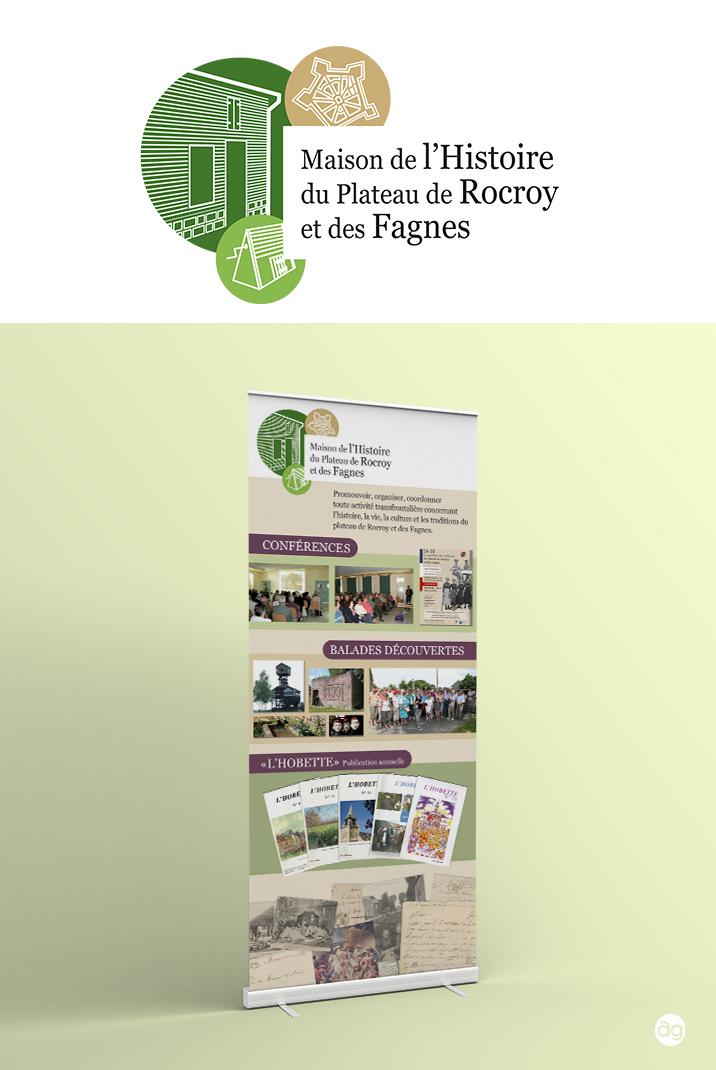 Logo et Roll-Up pour la Maison de l'Histoire du Plateau de Rocroy et des Fagnes