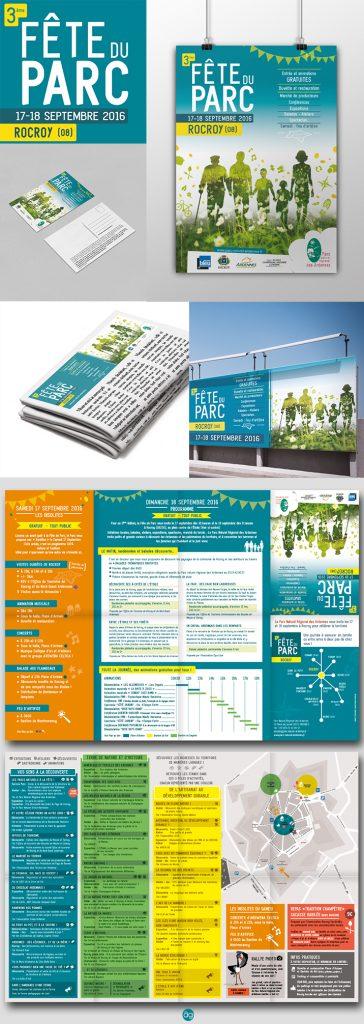 Affiche, programme, plan et communication pour la Fête du Parc Naturel des Ardennes