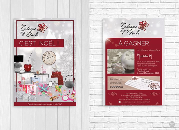 Flyer de Noël pour la boutique les Cadeaux de l'Étoile de Rocroy