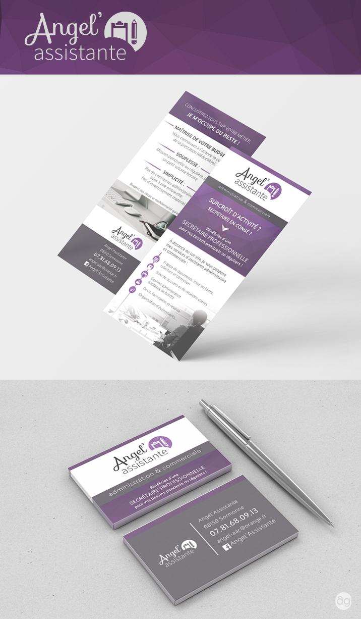 Flyer et carte de visite pour Angel'Assitante administrative et commerciale