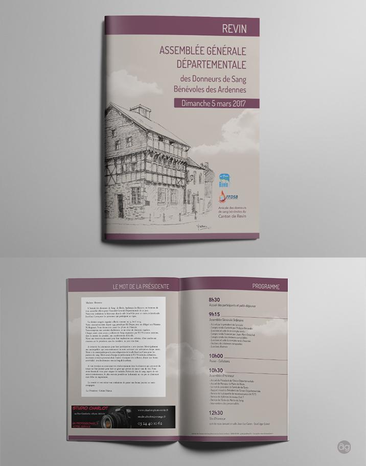 Brochure pour le programme de l'Assemblée Générale des Donneurs de Sang