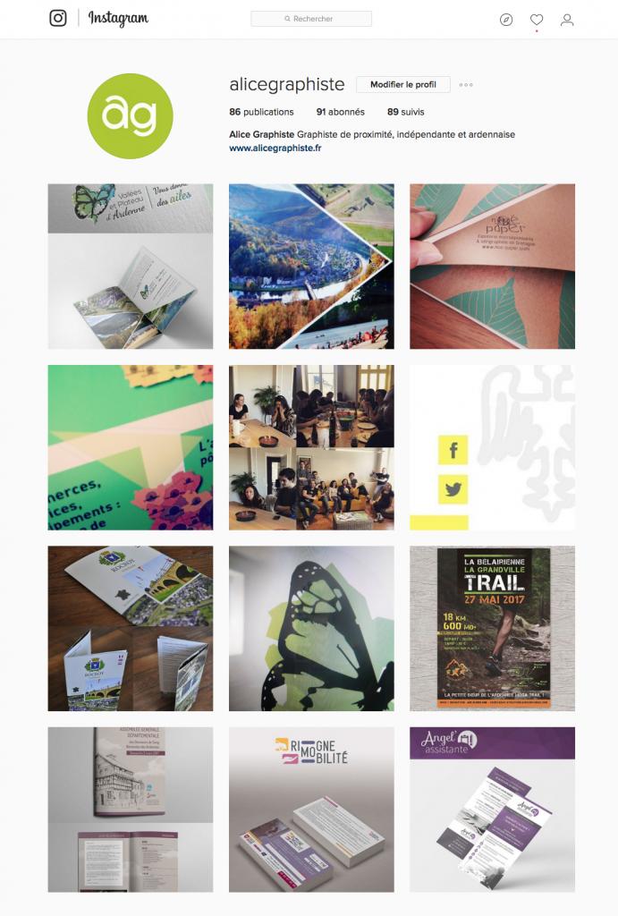 Compte instagram d' Alice Graphiste