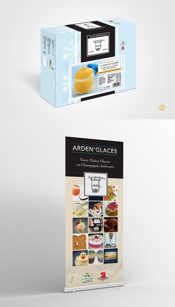 Packaging et Roll Up pour Arden'Glaces : Le Marchand de Glaces