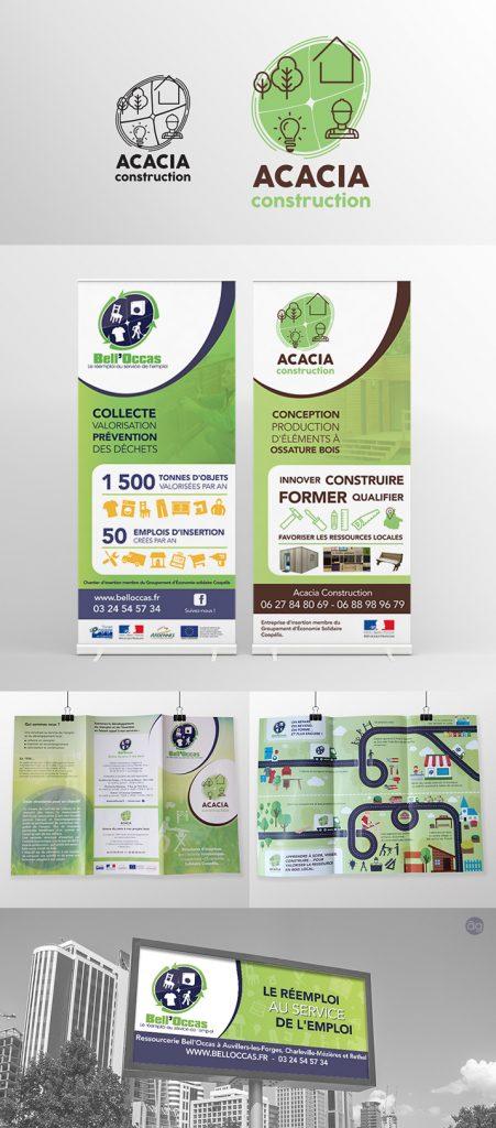 Logo, Roll-Up et dépliant pour Acacia et Bell'Occas