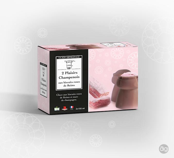 """Packaging """"2 Plaisirs Champenois"""" : Le Marchand de Glaces (Arden'Glaces)"""