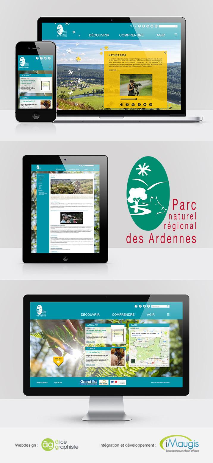 Webdesign du site internet du Parc Naturel Régional des Ardennes