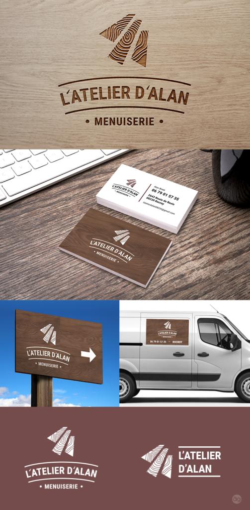 Un logo et toute une identité visuelle pour le nouvel atelier de menuiserie de Rocroi : L'Atelier d'Alan.
