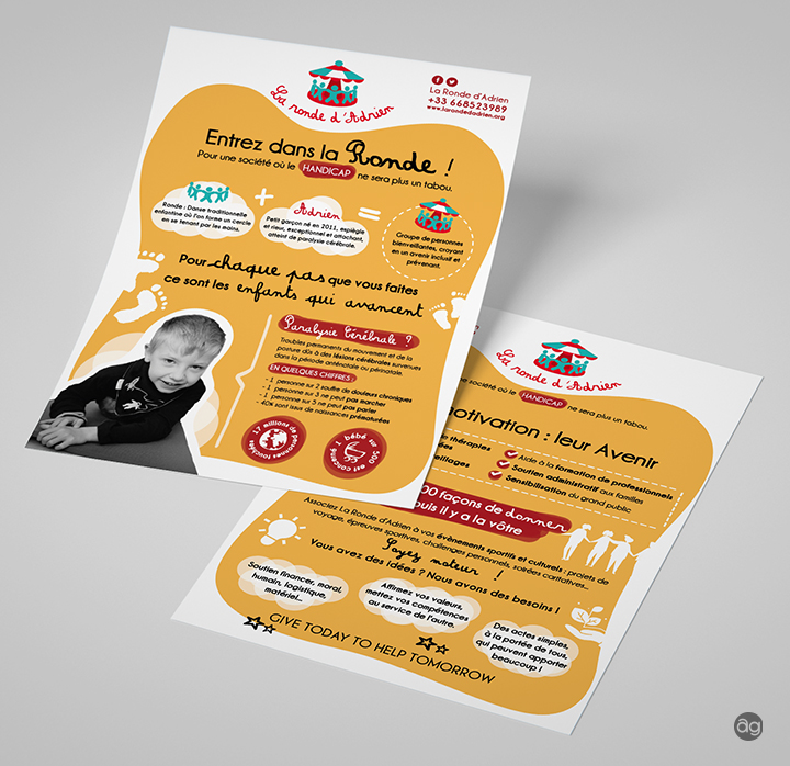 Flyer pour l'association La Ronde d'Adrien